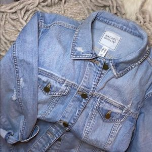 Rachel Hollis Ltd Distressed Denim Jacket NEW  XXS